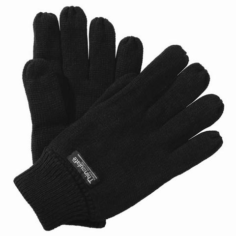 Herren Handschuhe - schwarz - strick, Fleece gefüttert von Thinsulate / 3M