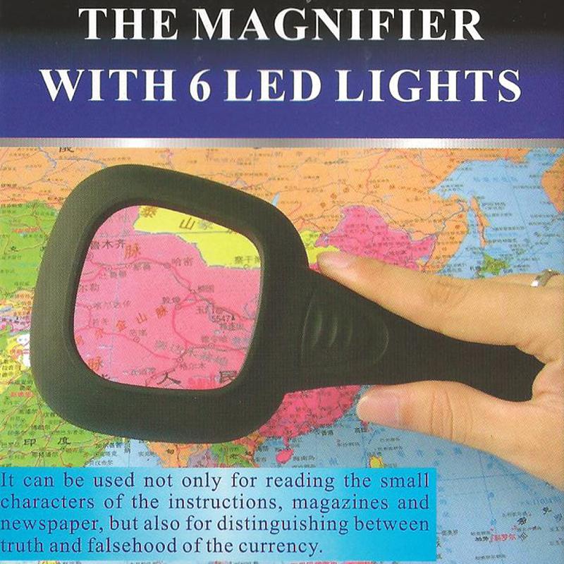 Handlupe Leselupe Lupe Vergrößerungsglas Sehhilfe mit 6 LEDs