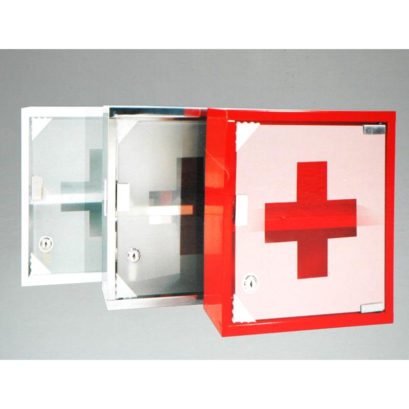Silber Medikamentenschrank Hausapotheke mit Schloss - 25 x 25 cm