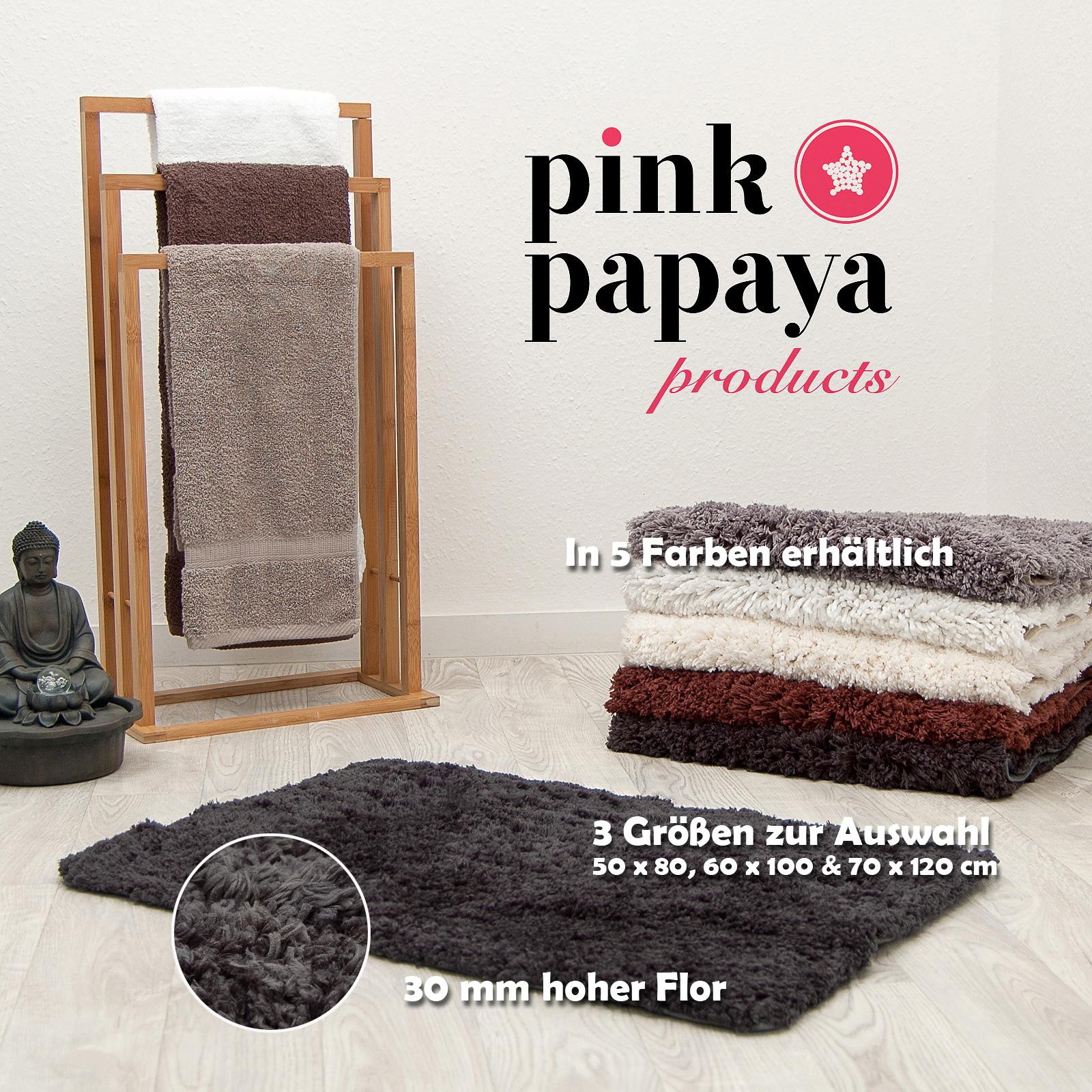 pink papaya hochflor luxus badteppich cloud 70 x 120 cm anthrazit ebay. Black Bedroom Furniture Sets. Home Design Ideas