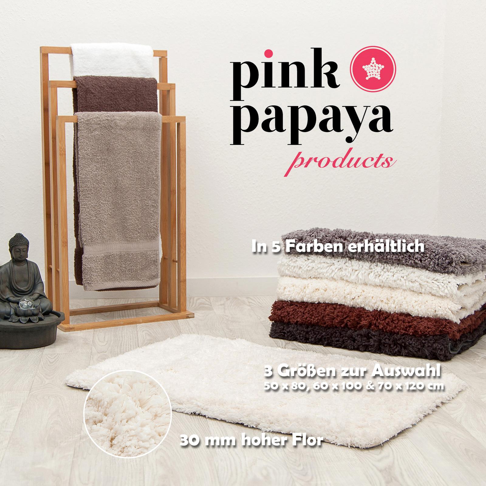 pink papaya hochflor luxus badteppich cloud 70 x 120 cm beige ebay. Black Bedroom Furniture Sets. Home Design Ideas