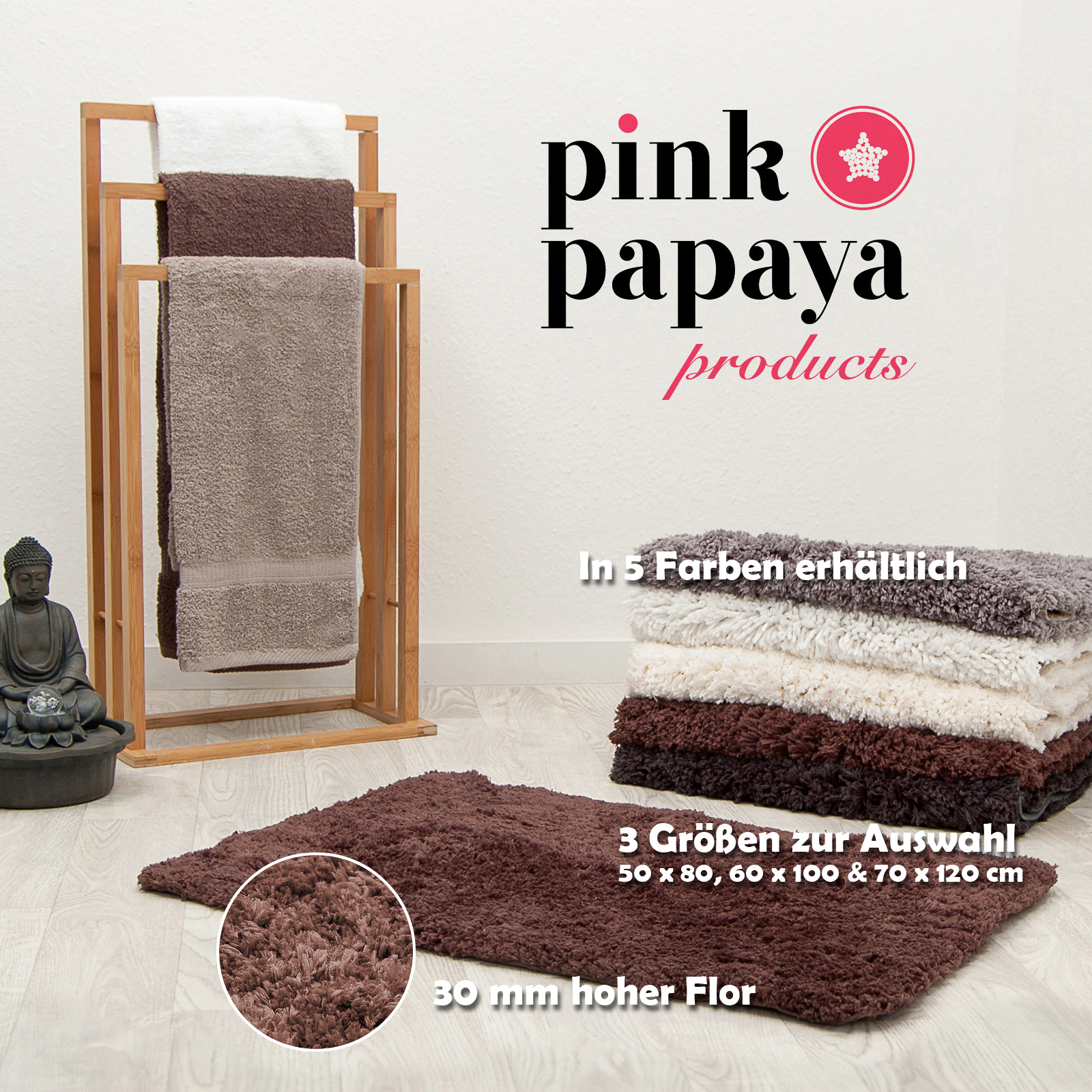 pink papaya hochflor luxus badteppich cloud 70 x 120 cm braun ebay. Black Bedroom Furniture Sets. Home Design Ideas