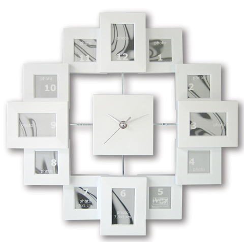 wanduhr f r 12 fotos bilderrahmen wei bilderrahmenuhr photoframe ebay. Black Bedroom Furniture Sets. Home Design Ideas