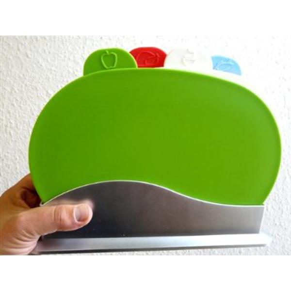 Schneidebrett Set - 4 Brettchen im Ständer grün rot weiß blau antibakteriell