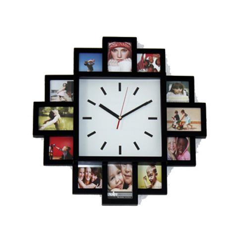 design bilderrahmenuhr wanduhr mit 12 bilderrahmen ebay. Black Bedroom Furniture Sets. Home Design Ideas