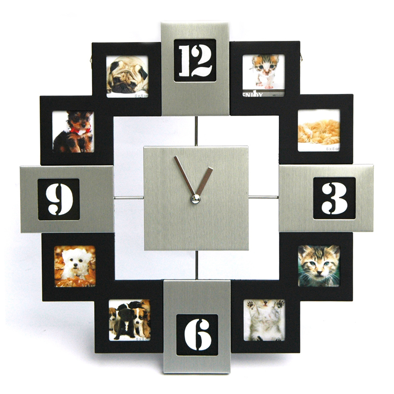 aluminium wanduhr mit 8 schwarzen und 4 silbernen bilderrahmen 33 cm fotorahmen ebay. Black Bedroom Furniture Sets. Home Design Ideas