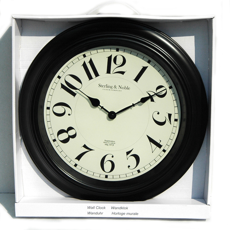 wanduhr sterling noble arabische ziffern schwarz weiss d 40 cm ebay. Black Bedroom Furniture Sets. Home Design Ideas