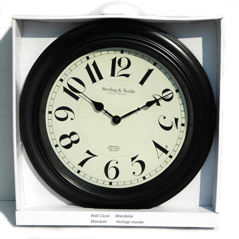 wanduhr sterling noble arabische ziffern schwarz weiss d 40 cm ebay. Black Bedroom Furniture Sets. Home Design Ideas
