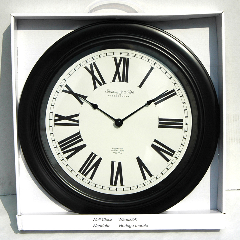 wanduhr sterling noble roemische ziffern schwarz weiss d 40 cm ebay. Black Bedroom Furniture Sets. Home Design Ideas