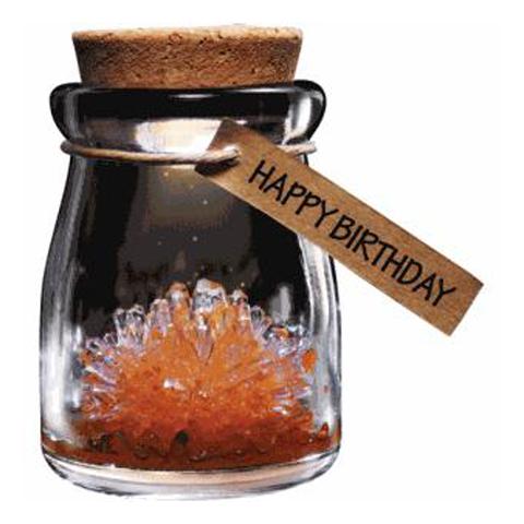Crystal Wish Flower - Happy Birthday - orange - wachsender Kristall mit LED