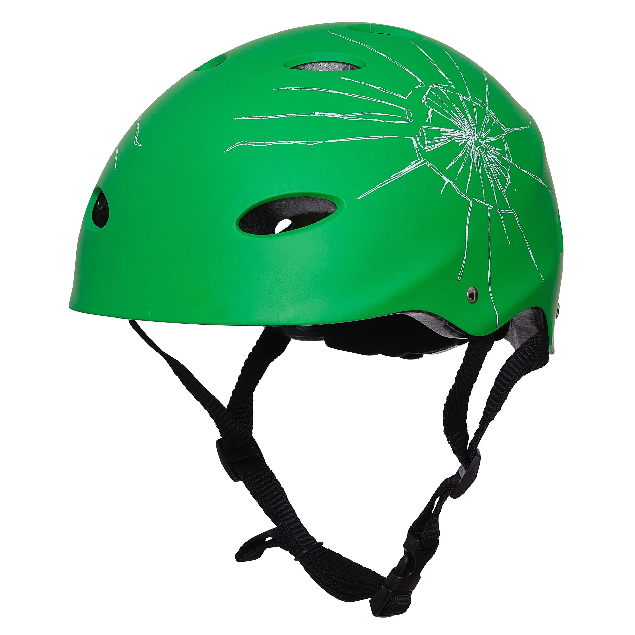 """Apollo Skate-Helm -""""Broken/Grün"""" Größe S/M verstellbar (48-55 cm)"""
