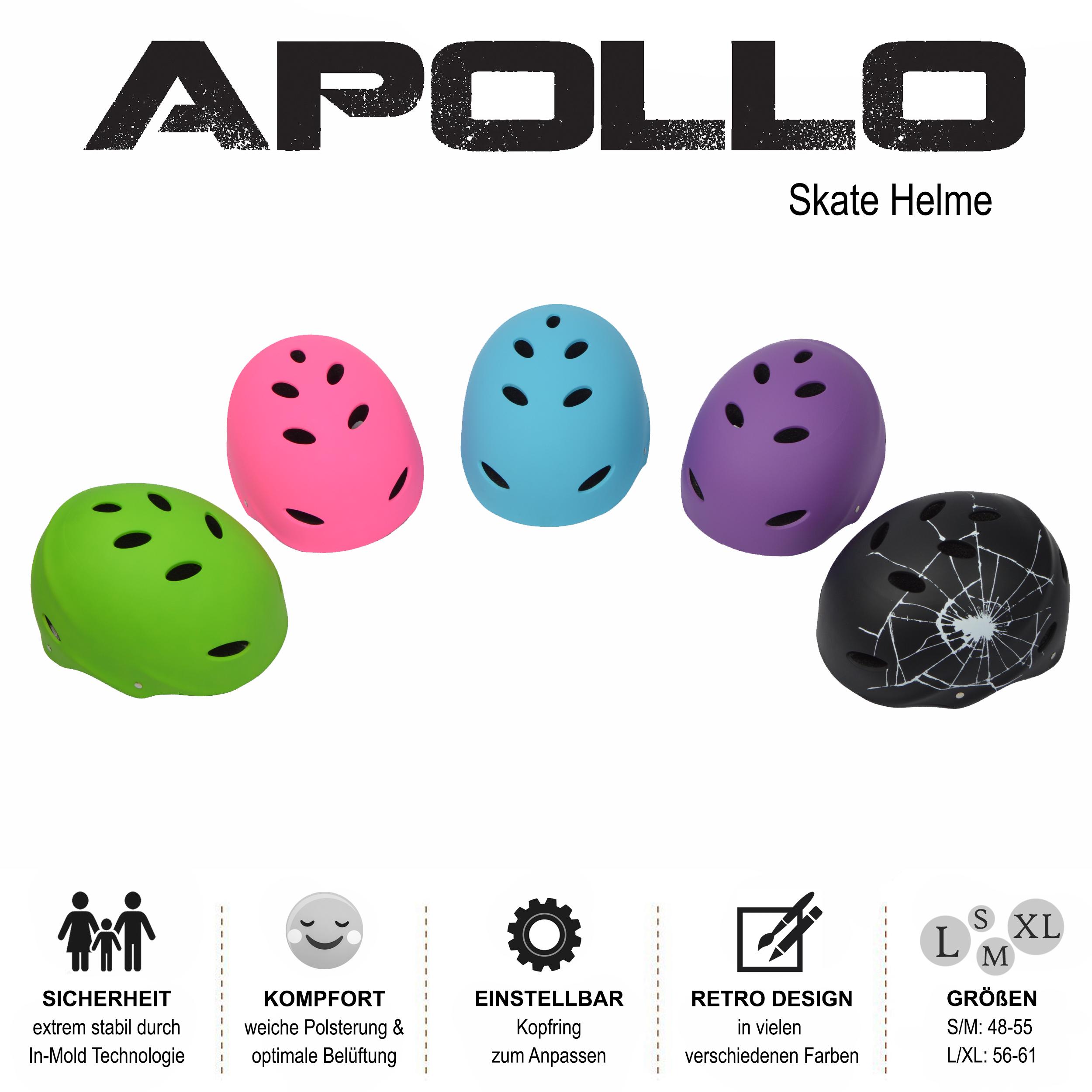 Apollo Skate-Helm/Fahrradhelm - Verstellbarer Skateboard, Scooter, BMX-Helm