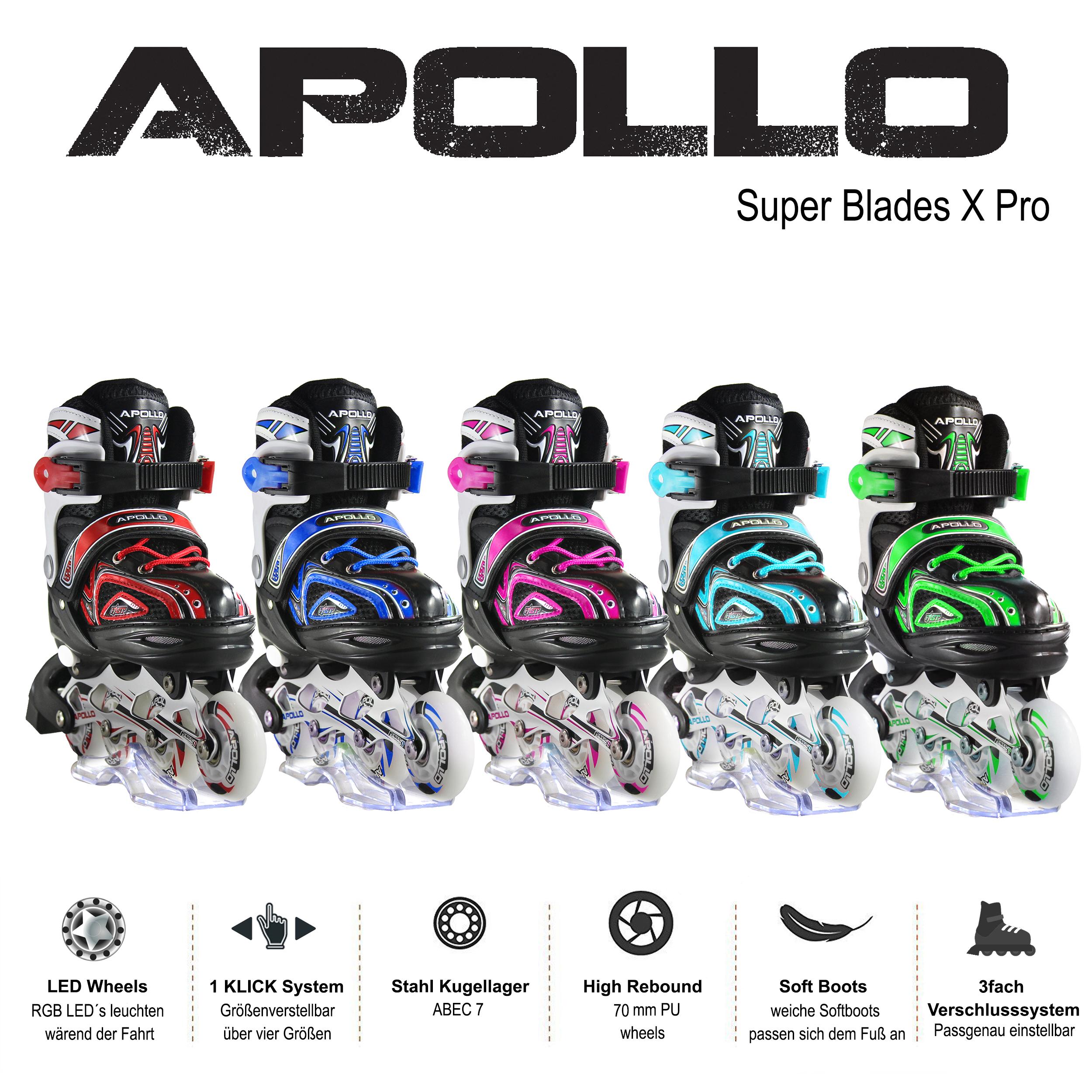 35-38 verstellbar Kinder Inliner Inlineskates Rollschuhe mit LED ABEC-7 Größe Inlineskating