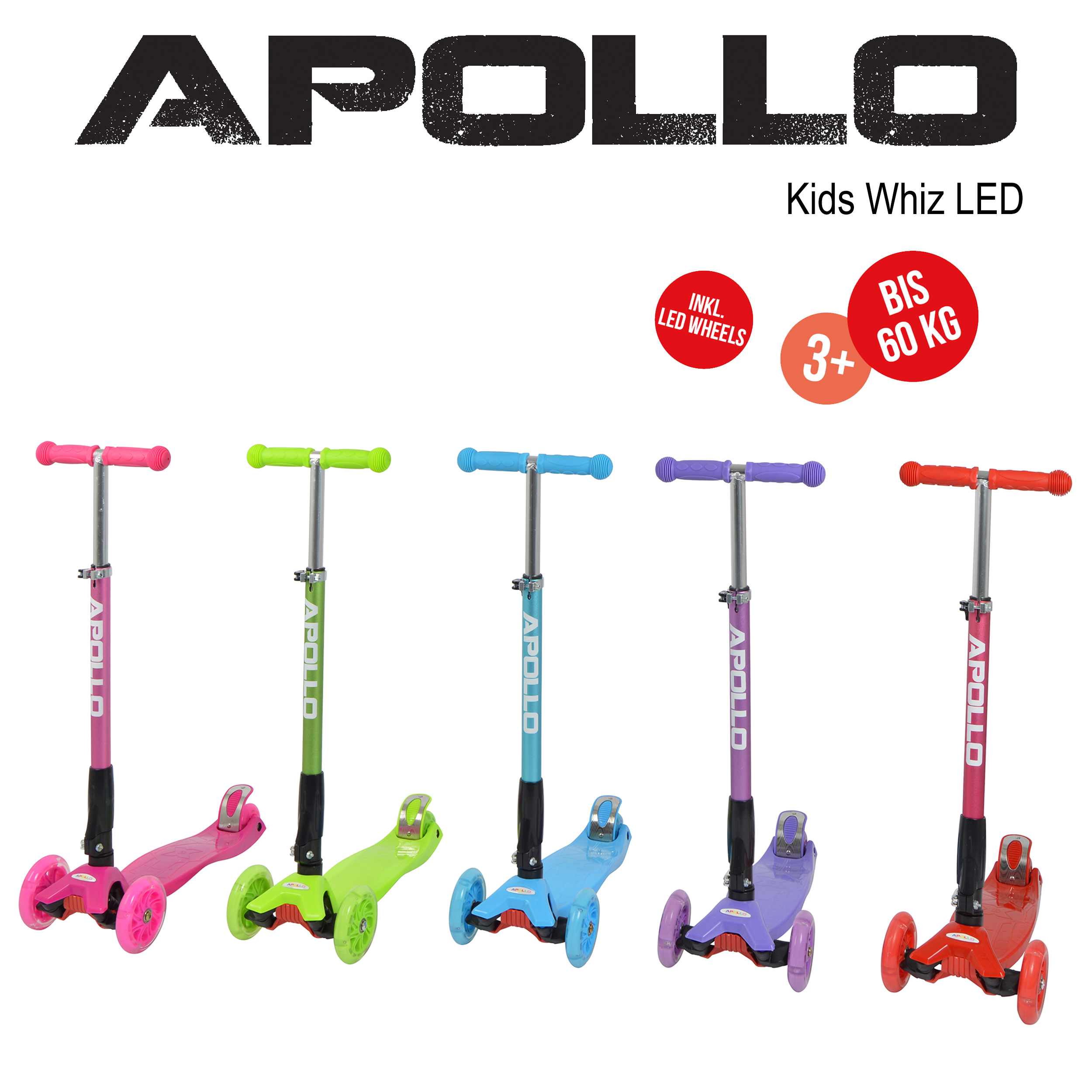 apollo kinderroller kids whiz led verschiedene farben. Black Bedroom Furniture Sets. Home Design Ideas