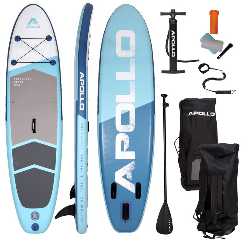 """Apollo SUP Board Stand Up Paddle Board Komplettset """"SHARK"""" 3 m"""
