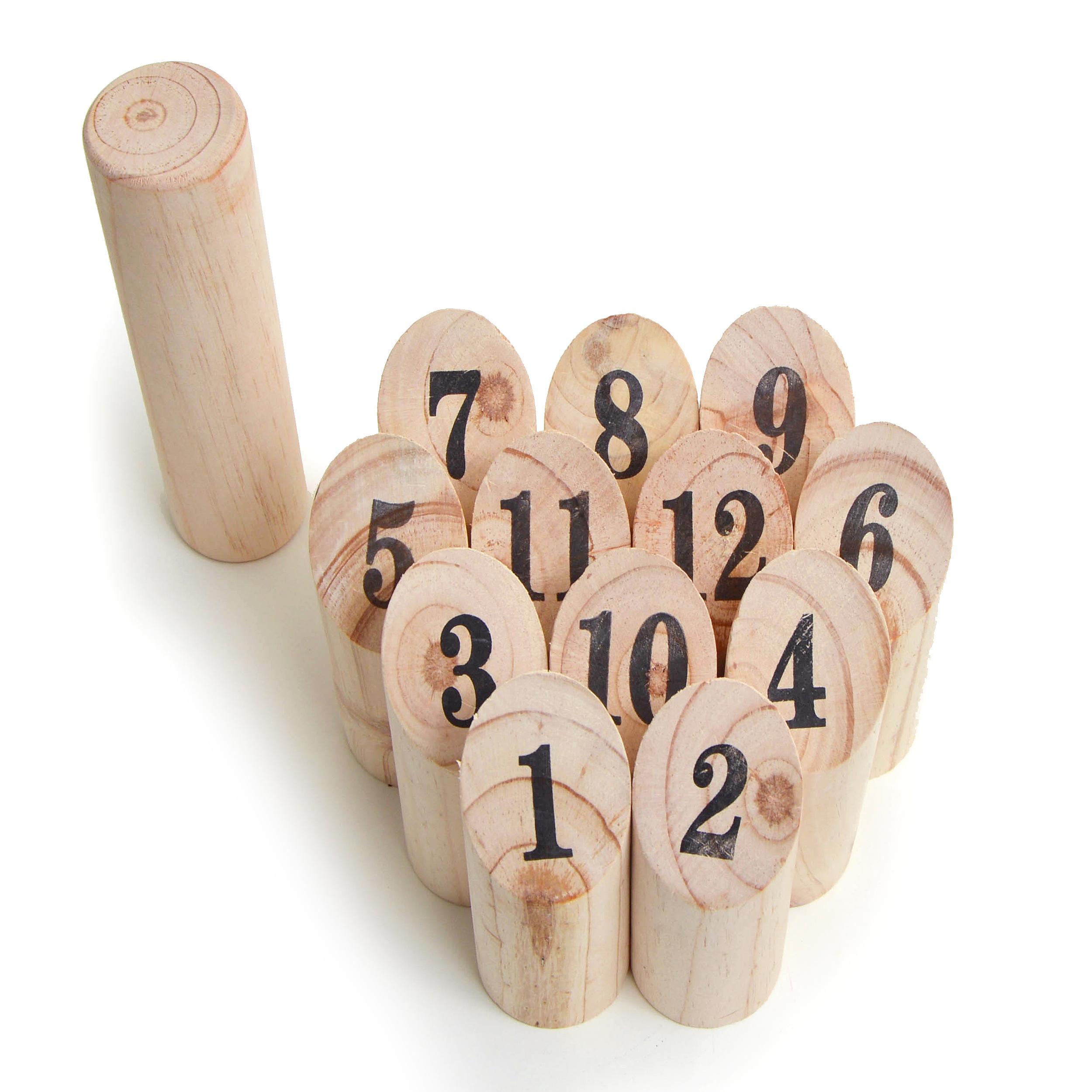 Nummern Kubb - das Zahlen Wurfspiel für draußen