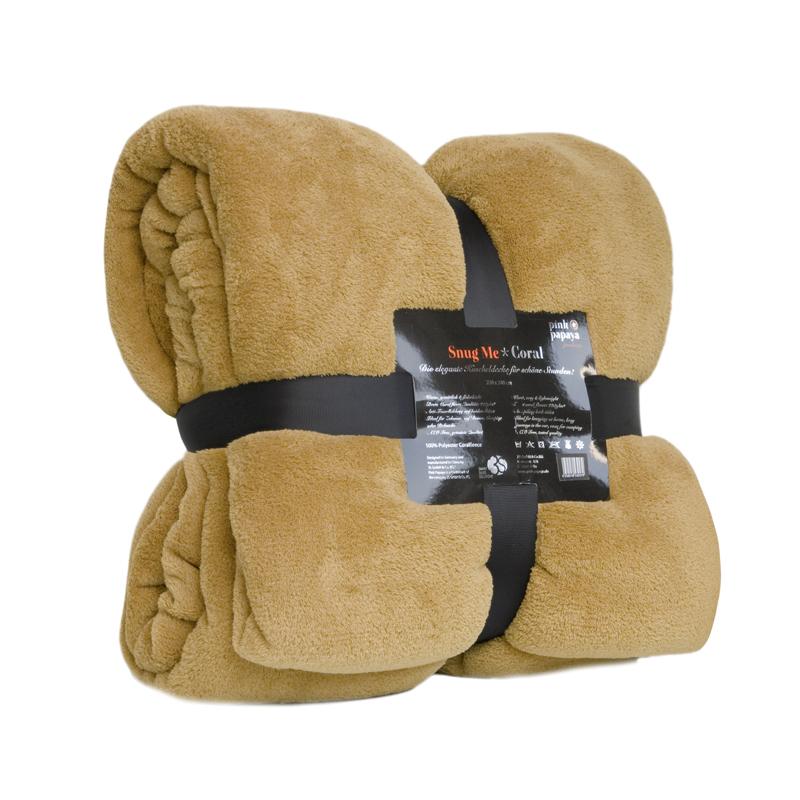 Snug Me Coral Fleece Decke Kuscheldecke 220 x 240 - Safran