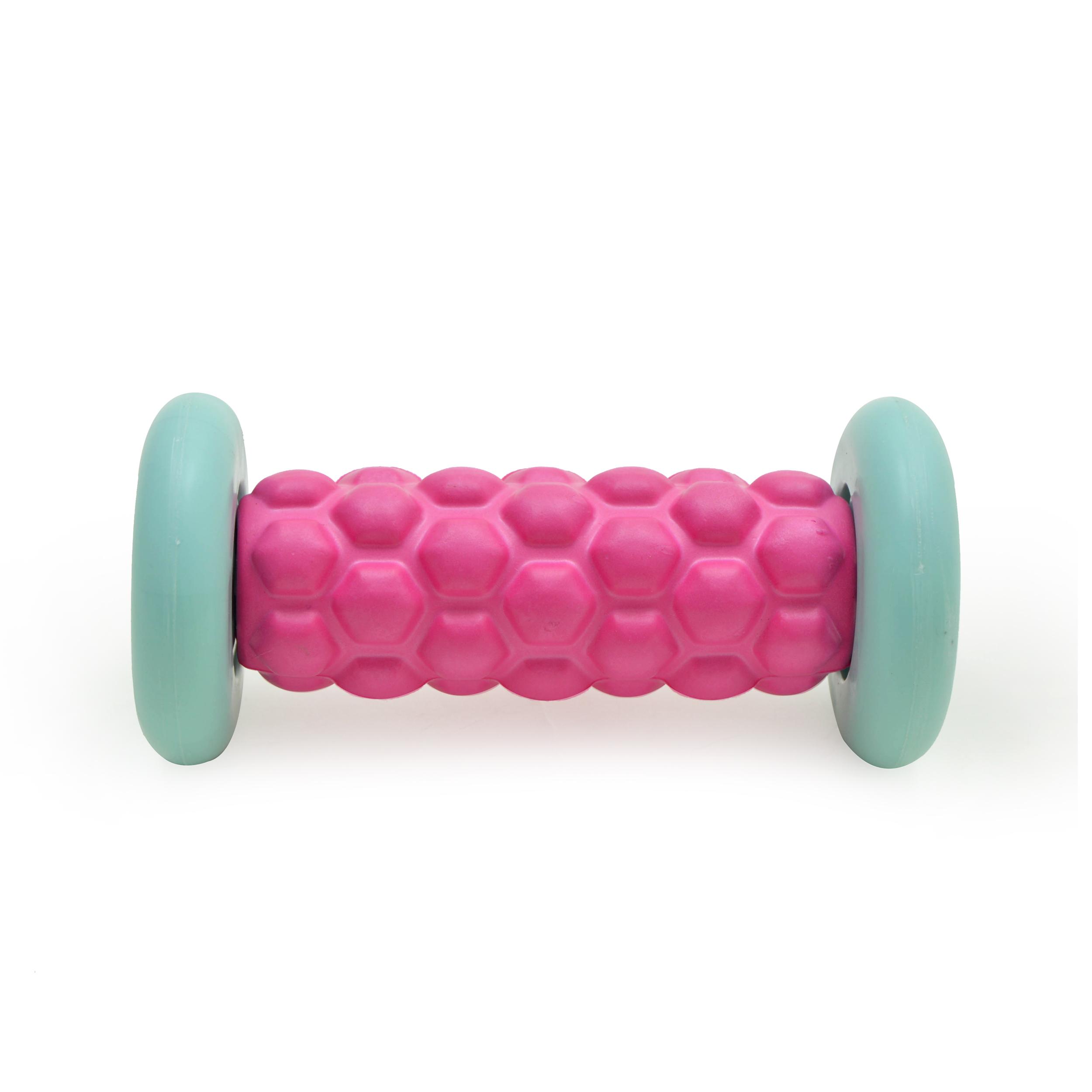 Zen Power Massage Fuß-Roller, kleine Faszien-Rolle 16x7,5 cm,pink/mint