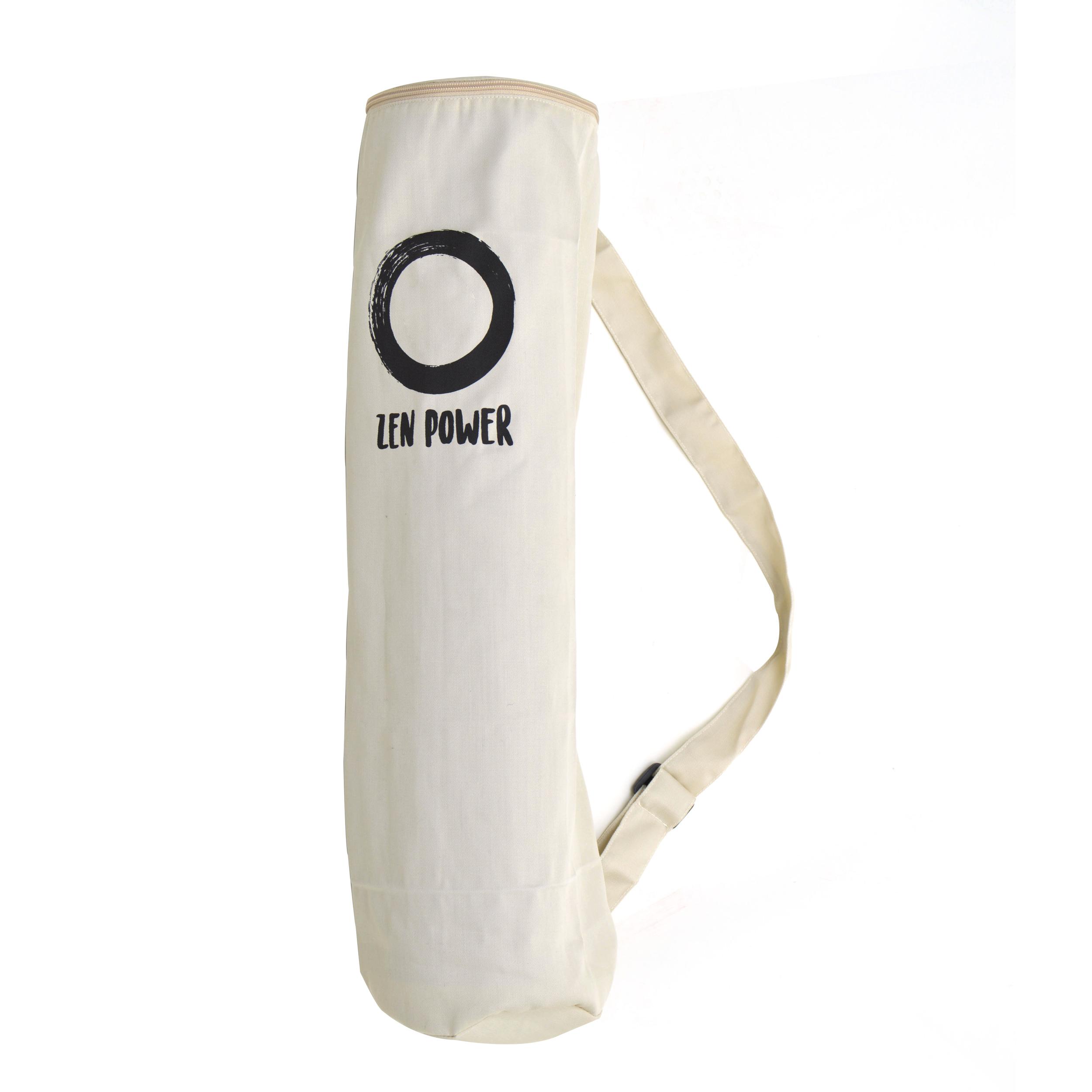 Zen Power Yoga-Tasche aus Baumwolle, Yoga-Beutel, 63x25cm, Farbe beige