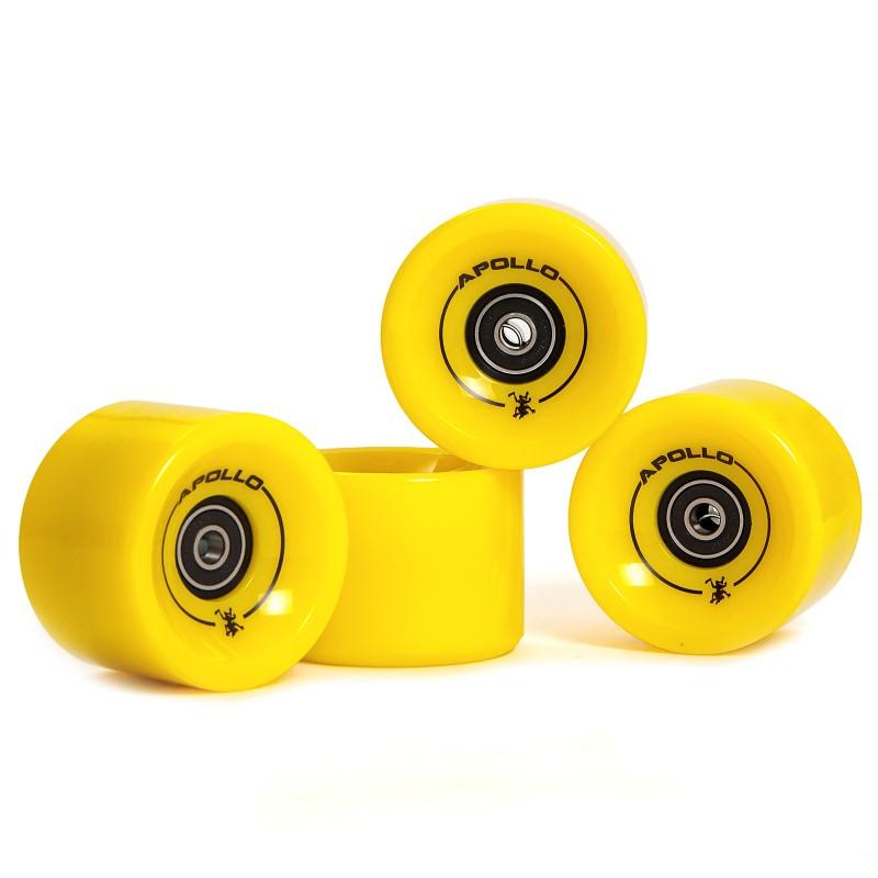 Apollo Longboard Rollen Wheel Set - Solid Yellow / gelb - Ersatzrollen