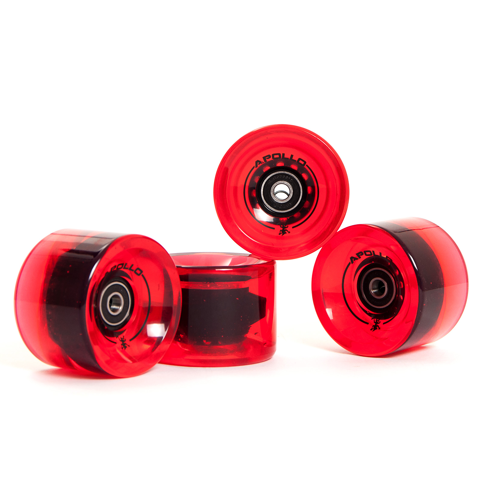 Apollo Longboard Rollen Wheel Set - BottleRed/rot(klar) - Ersatzrollen