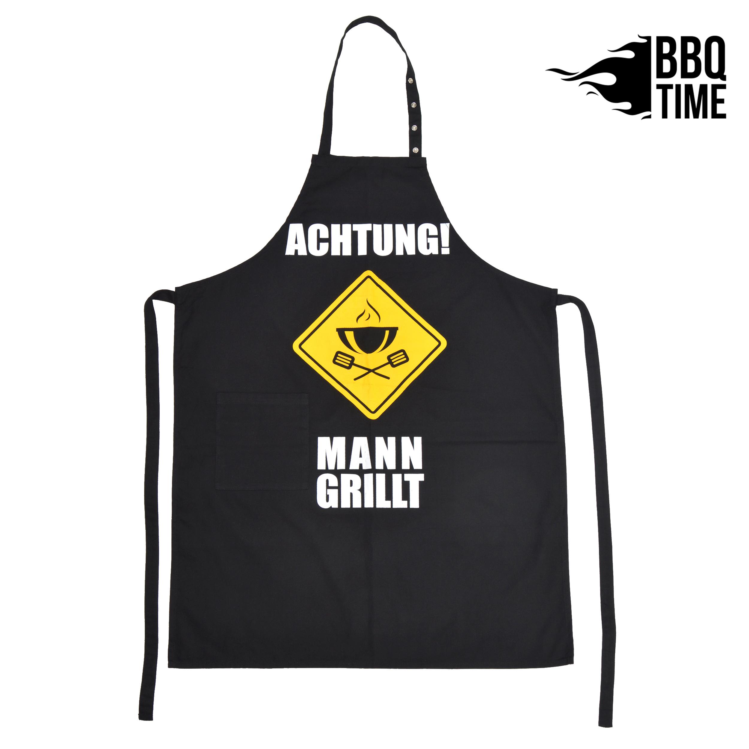 Grillschürze BBQ TIME - Achtung Mann grillt