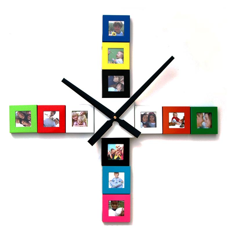 Design Bilderrahmenuhr - Do it yourself Wanduhr mit 12 Bilderrahmen ...