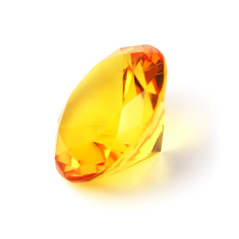 10er Set 10 cm großer toller Deko-Glas-Diamant Edelstein Kristall gelb