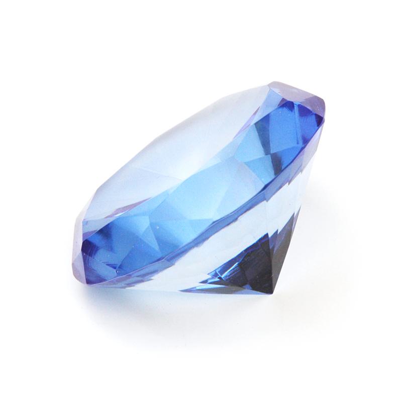 8 cm großer toller Deko-Glas-Diamant in blau mit 70 Facetten