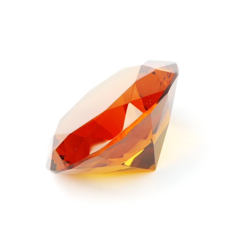 8 cm großer Deko-Glas-Diamant in gold gelb - facettenreicher Schliff