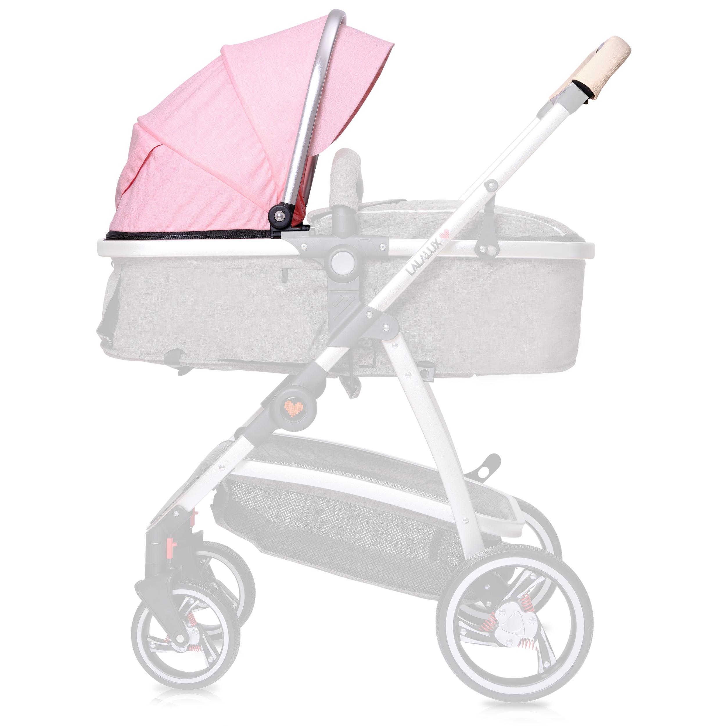 Lalalux Kinderwagen Ersatzset Ersatzbezug mit Gestell, Farbe Rosa
