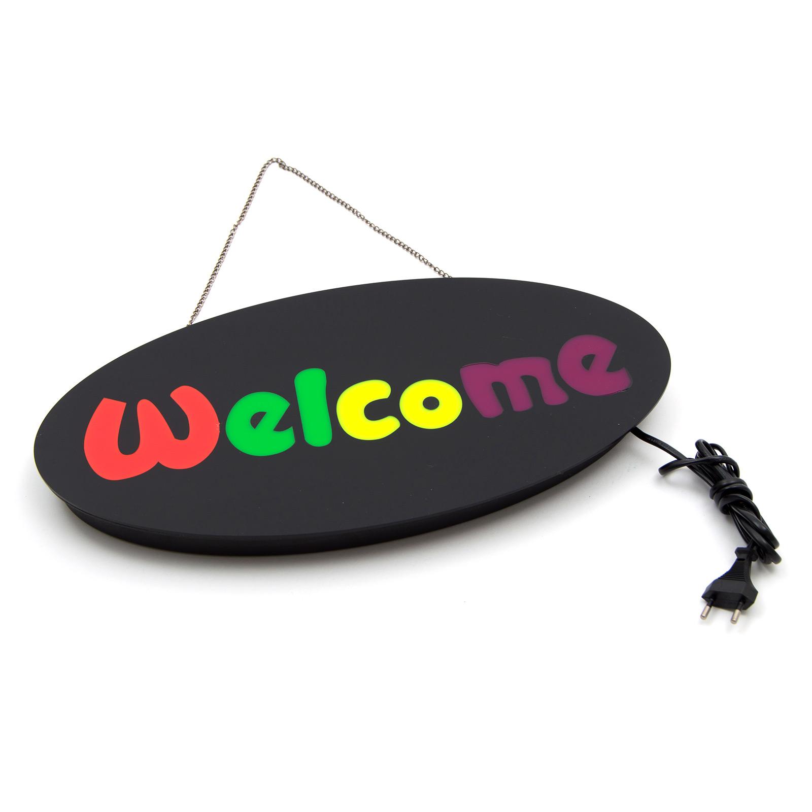 LED Schild Leuchtreklame Motiv: Welcome Farbe: bunt