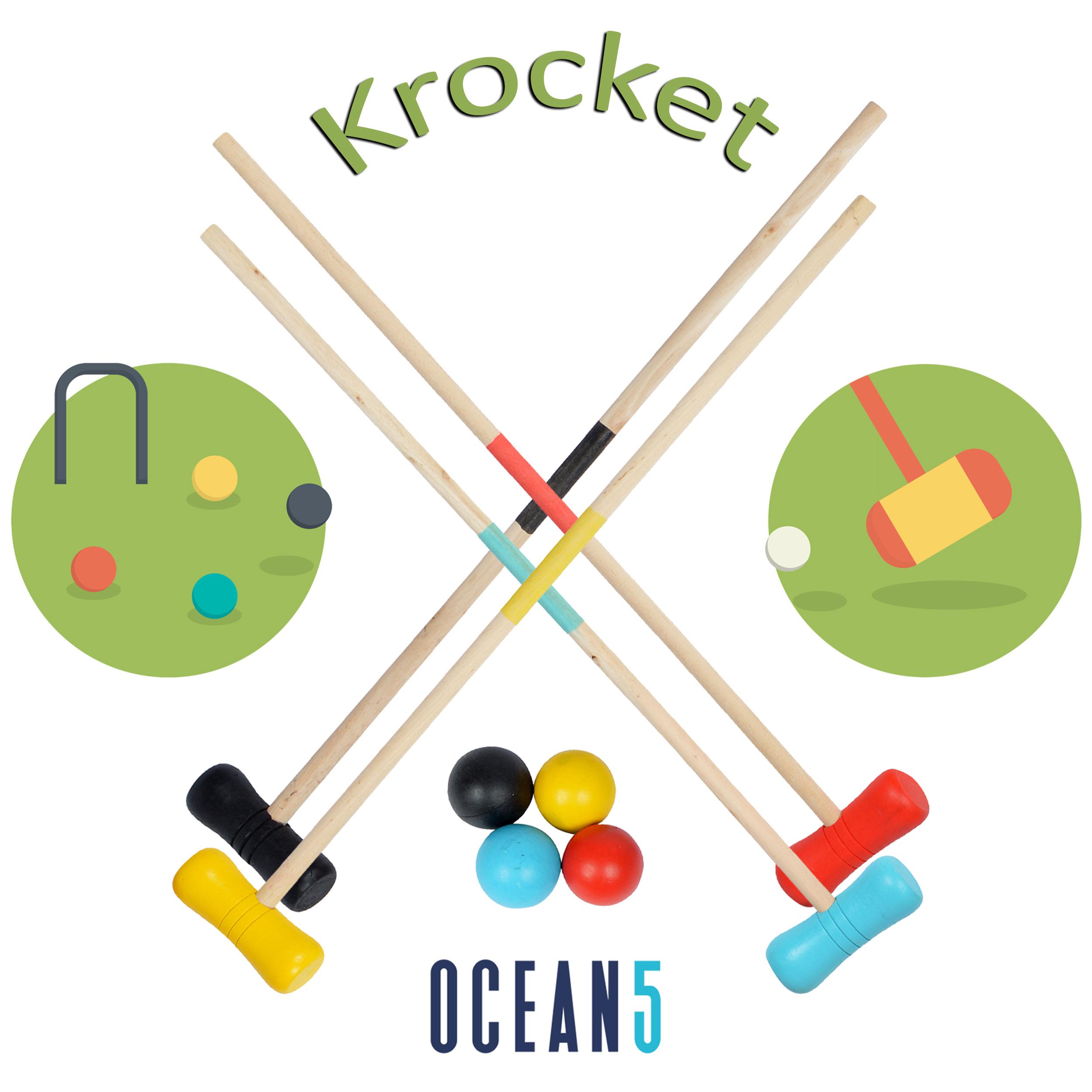 Ocean5 Croquet Set – Outdoor Krocket--58cm-Schlaeger--5cm-Baelle-