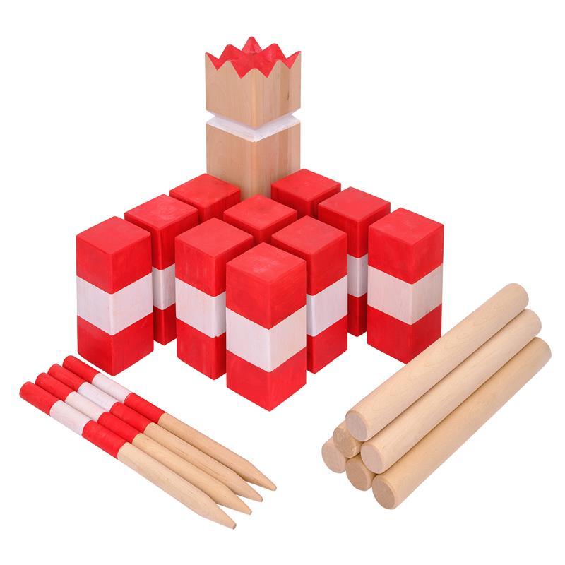 Ocean5 Kubb - Rot/Weiß gestreift Birke 9x9x30