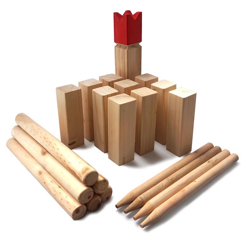 Kubb - Original Wikinger-Wurfspiel Spiel für draußen ROT