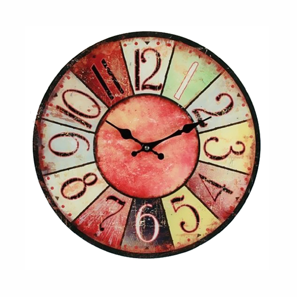 Wanduhr Vintage Colors - rot - farbenfrohe Uhr im modernen Design
