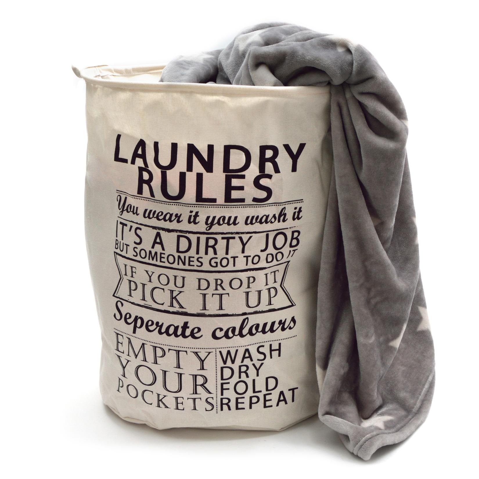 SV129-W Pink Papaya Wäschesack Laundry Rules - WEISS/SCHWARZ H:50 x Ø 40 cm