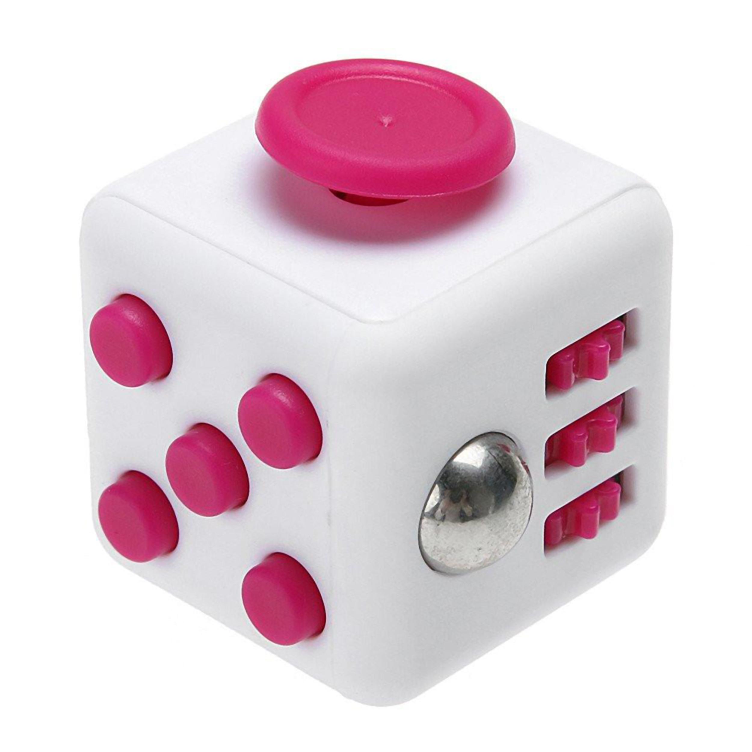 Fidget Cube Anti-Stresswürfel - Weiß/Pink