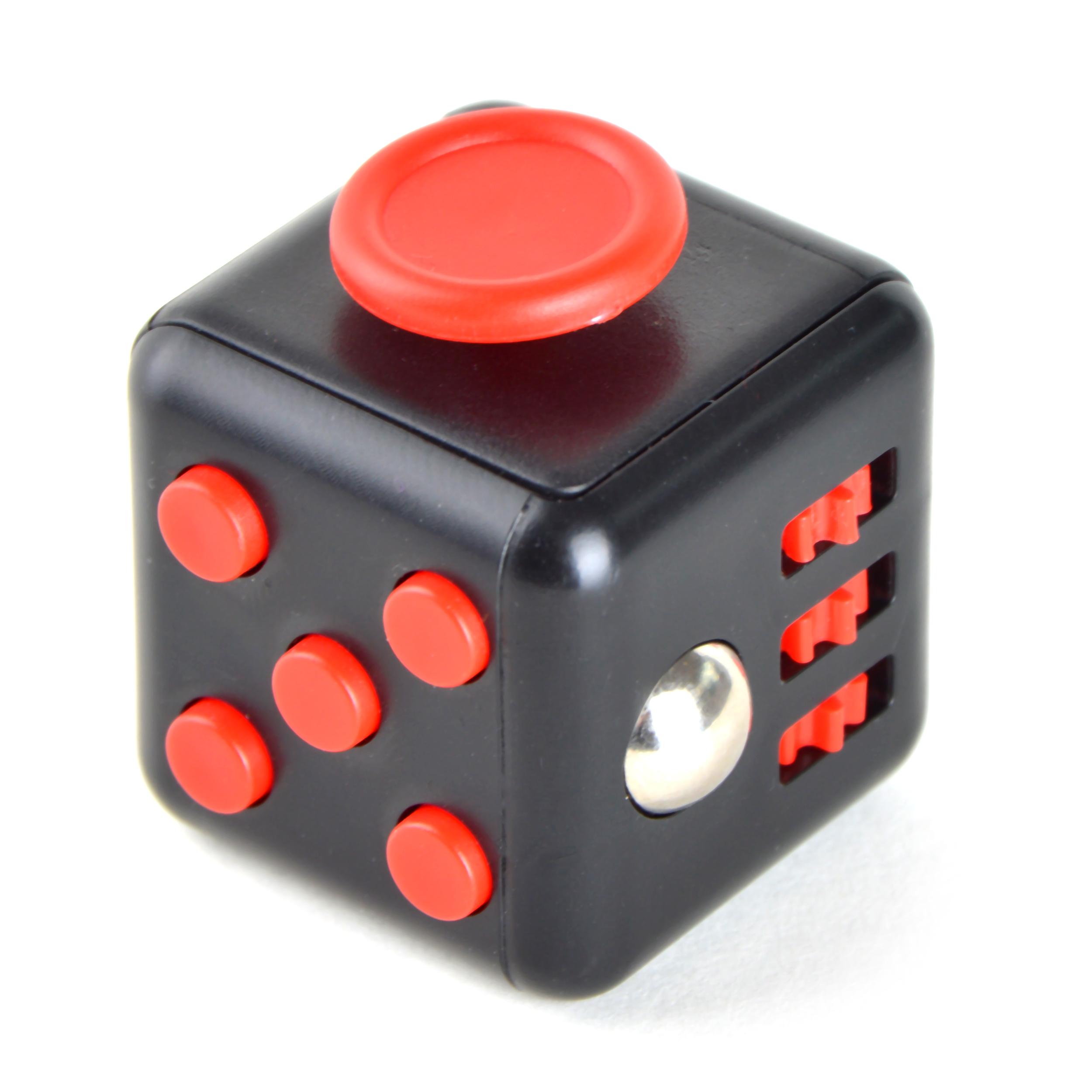 Fidget Cube Anti-Stresswürfel - Schwarz/Rot