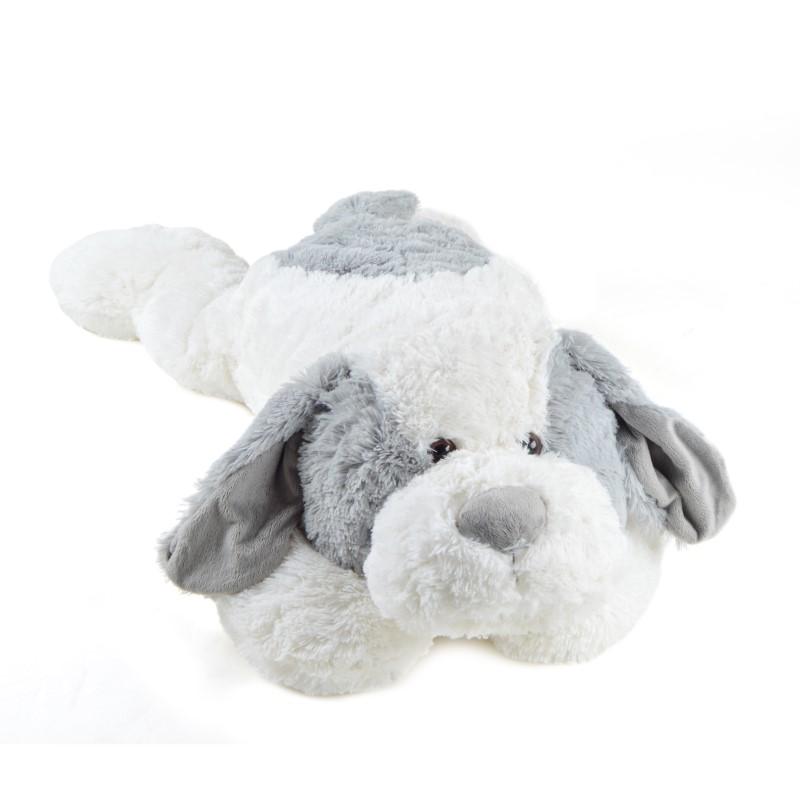 Riesen-Hund Lou, 100cm XXL Kuscheltier in weiß/grau