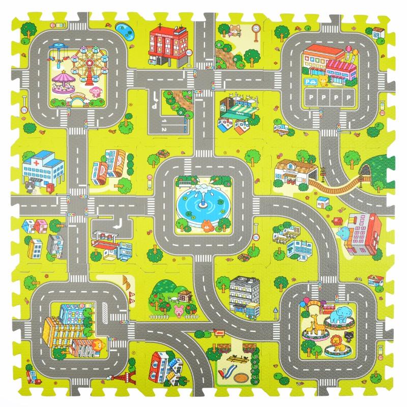 Pink Papaya Puzzlematte Stadt, Straßen-Teppich 92x92cm, 9tlg.