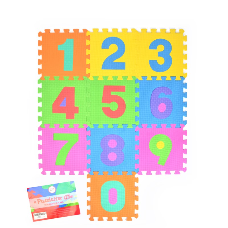 "Pink Papaya EVA Puzzlematte ""Puzzlestar 123"" 10 Felder (0-9, ohne Rand)"