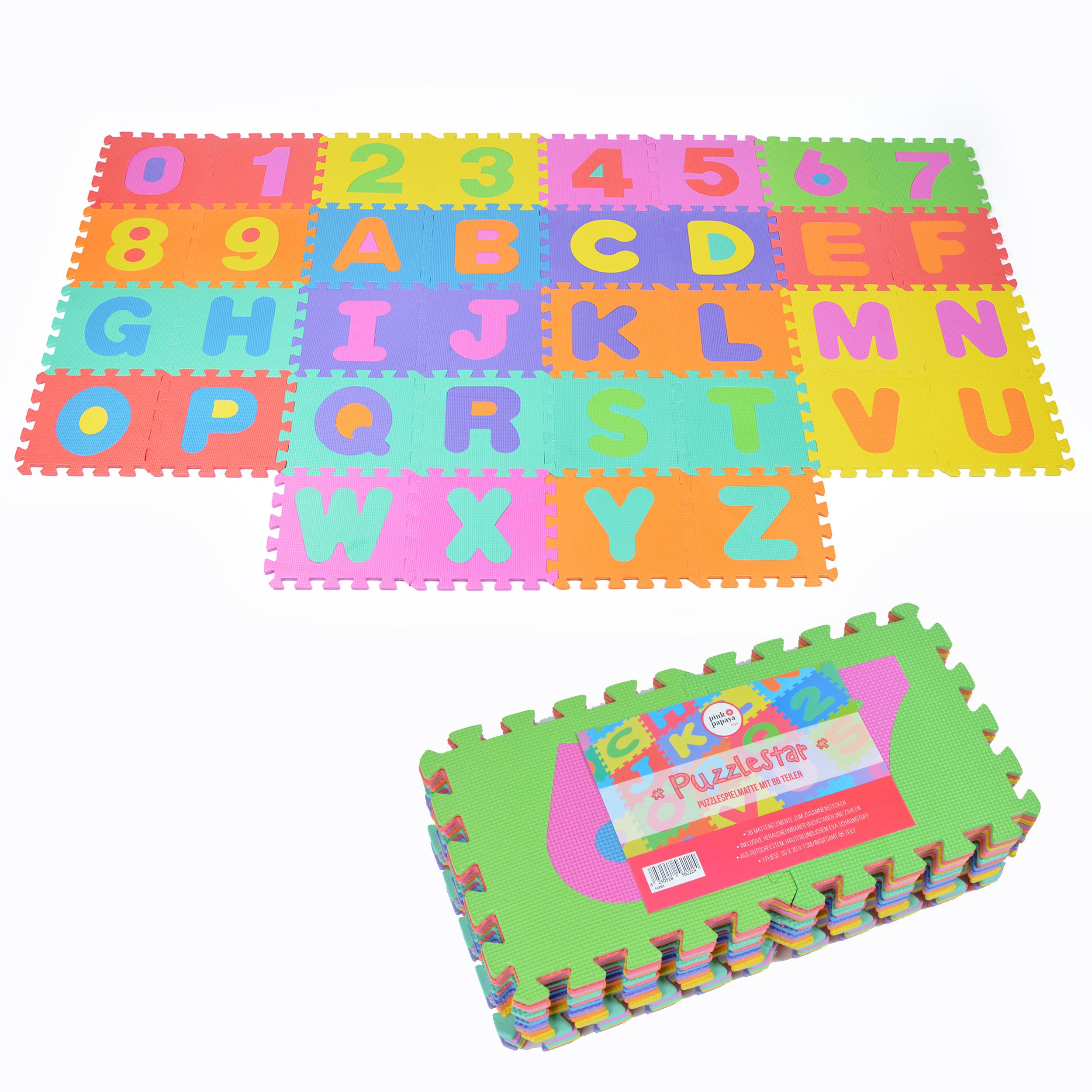 """Pink Papaya EVA Puzzlematte """"Puzzlestar 123 - ABC"""" 36 Felder (A-Z&0-9 ohne Rand)"""