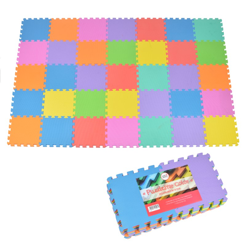 """Pink Papaya EVA Puzzlematte """"Puzzlestar Color"""" 36 Felder(ohne Buchstaben/Zahlen)"""