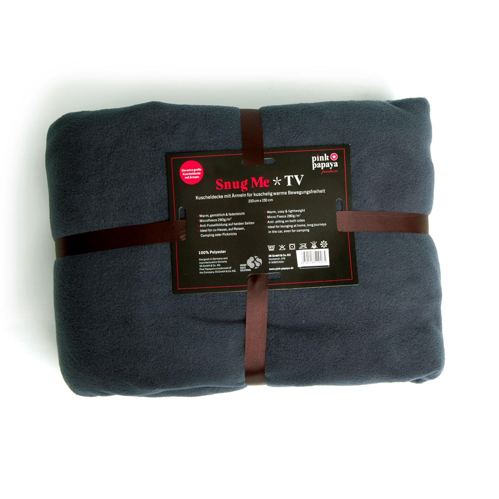 Snug Me Deluxe Anthrazit - Coral Decke mit Ärmeln und Fußtasche