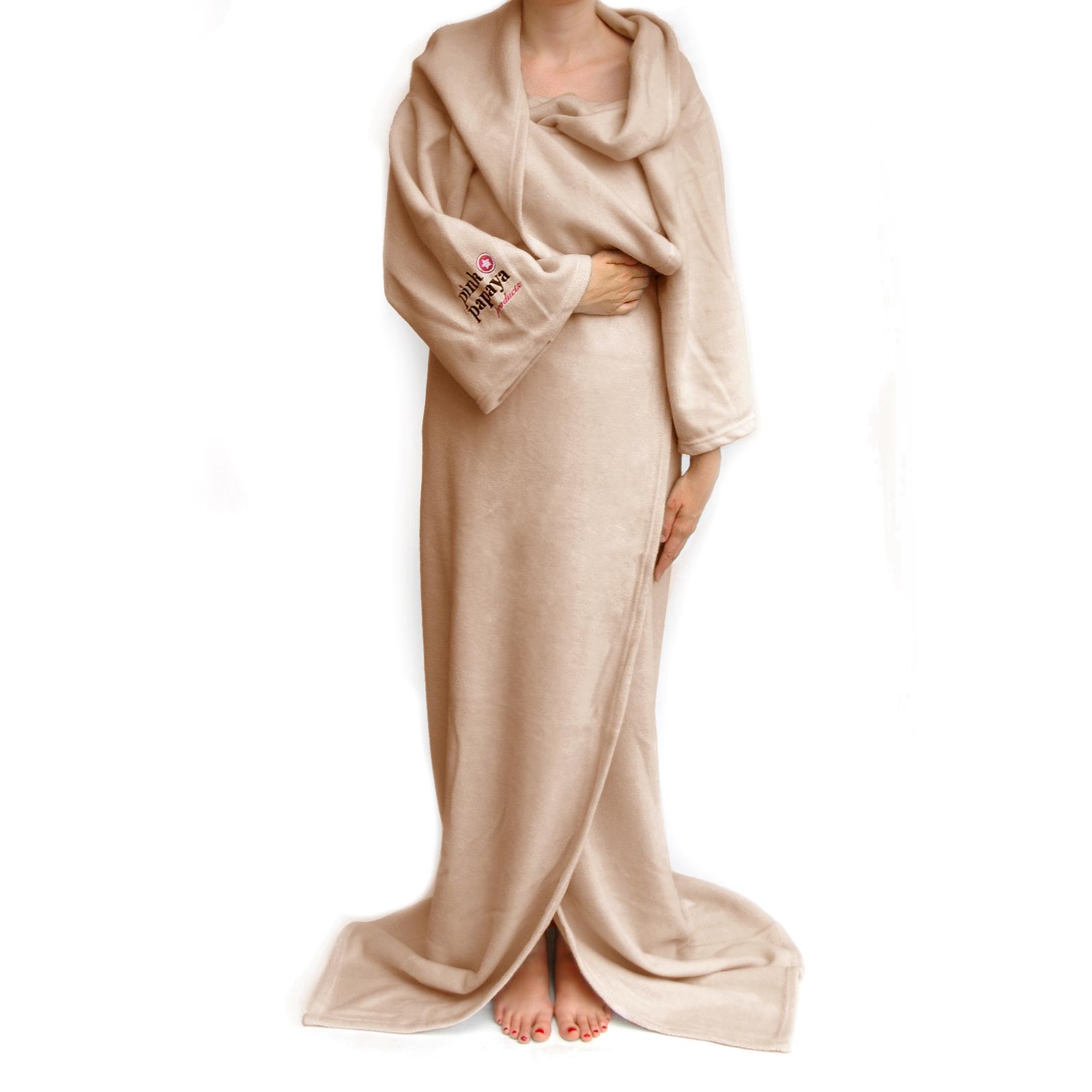 Snug Me Deluxe Beige - Coral Decke mit Ärmeln und Fußtasche