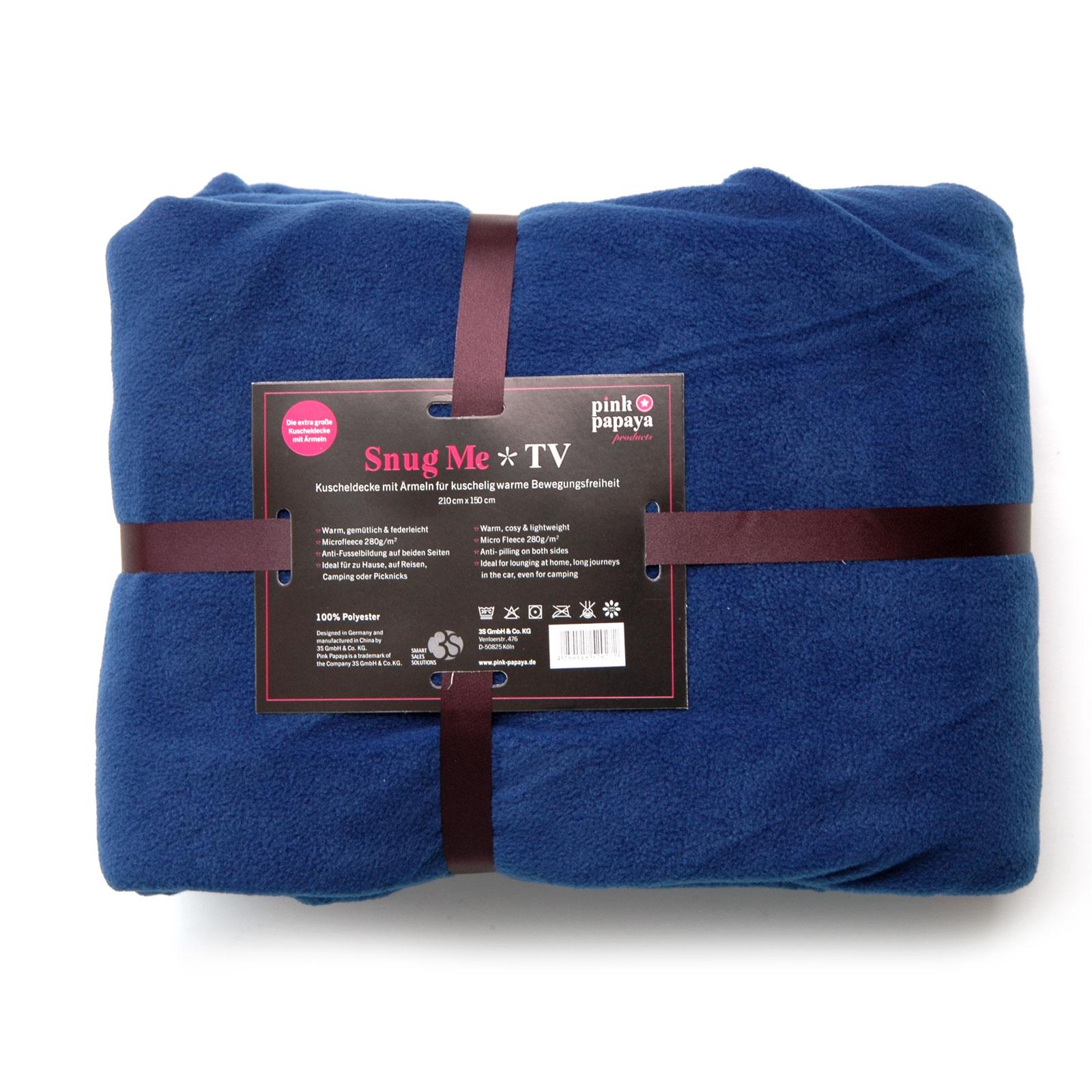 Snug Me TV - extra große Luxus Kuscheldecke mit Ärmeln - blau