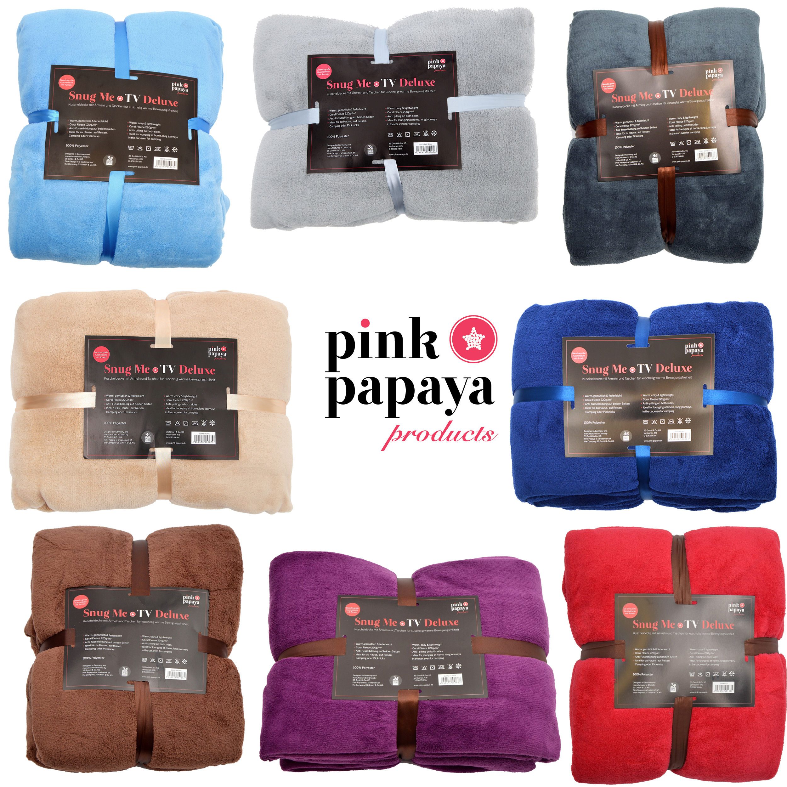Pink Papaya Snug Me Deluxe Kuscheldecke mit Ärmeln 200x170 cm viele tolle Farben