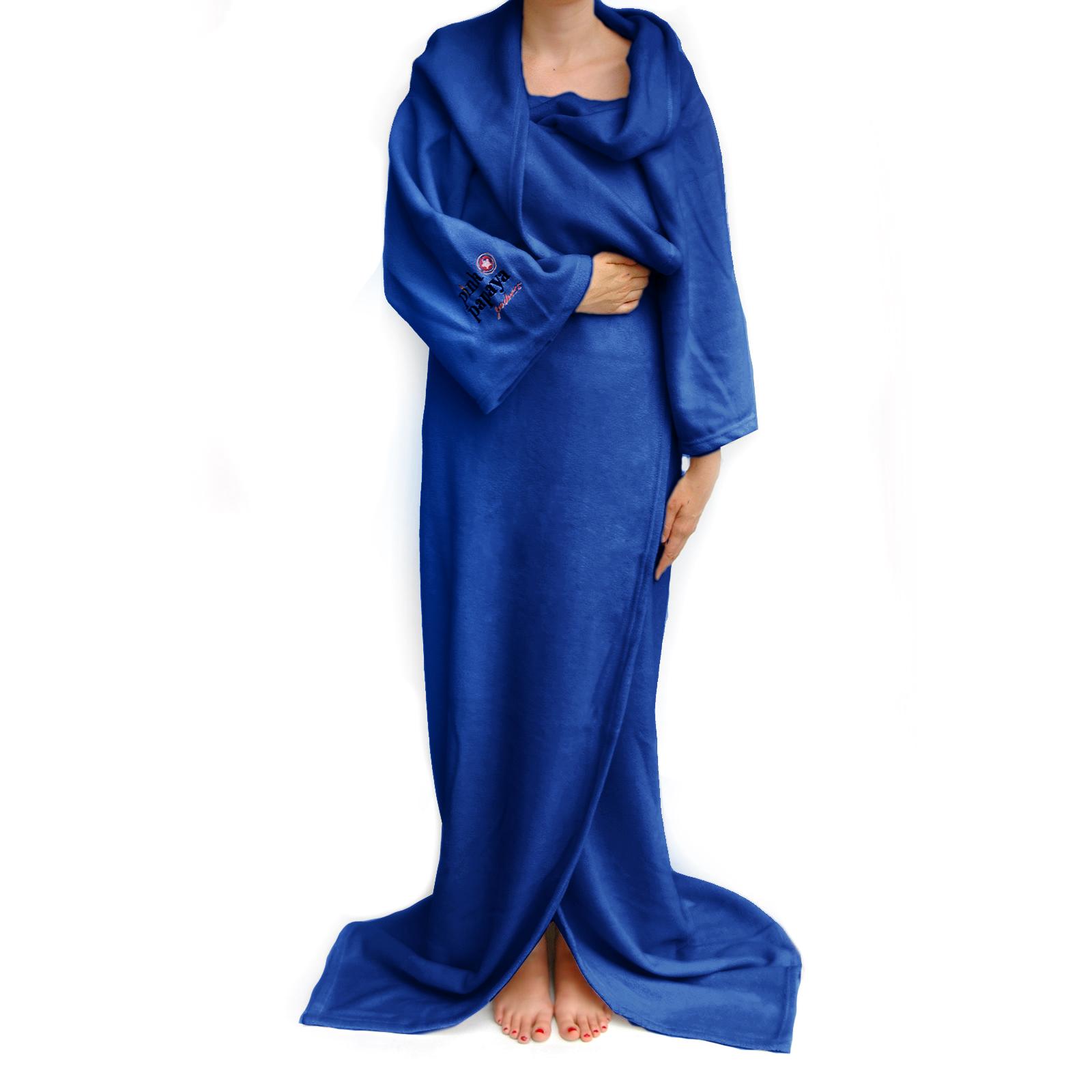 Snug Me Deluxe Dunkelblau - Coral Decke mit Ärmeln und Fußtasche
