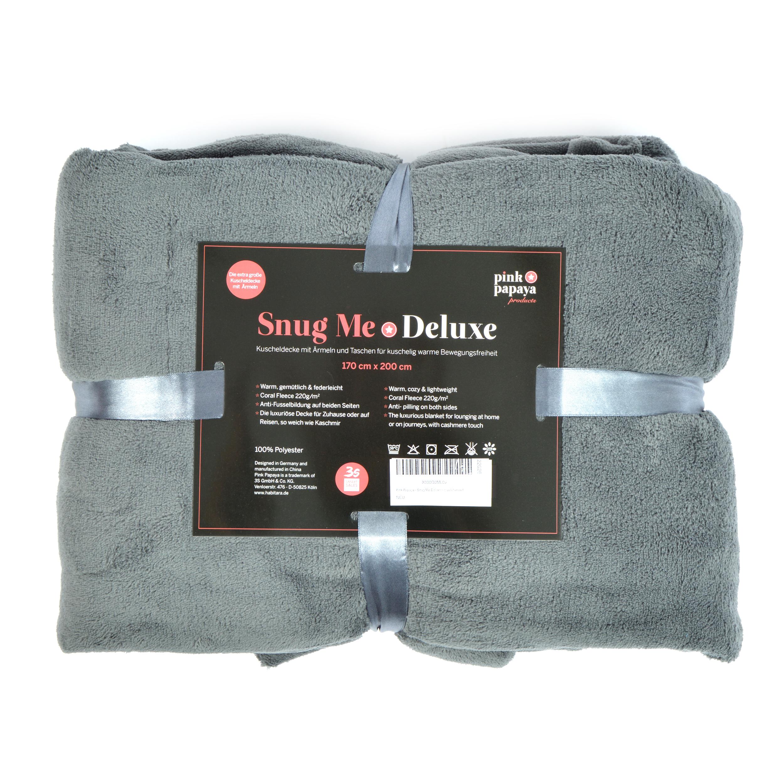 Snug Me - Deluxe - Decke mit Ärmeln und Fußtasche - Mid Grey / Charcoal 200x170